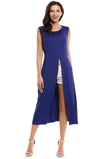 Hotouch Womens Sleeveless Maxi Dress Tops High Front Split Casual