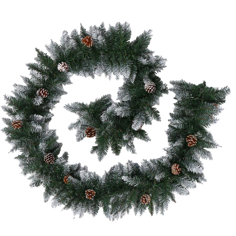 270cm Christmas Garlands Snow Flocked with Pine Cones Green Artificial Wreath Fireplace Stair Xmas Tree Decorations (9ft) willkey