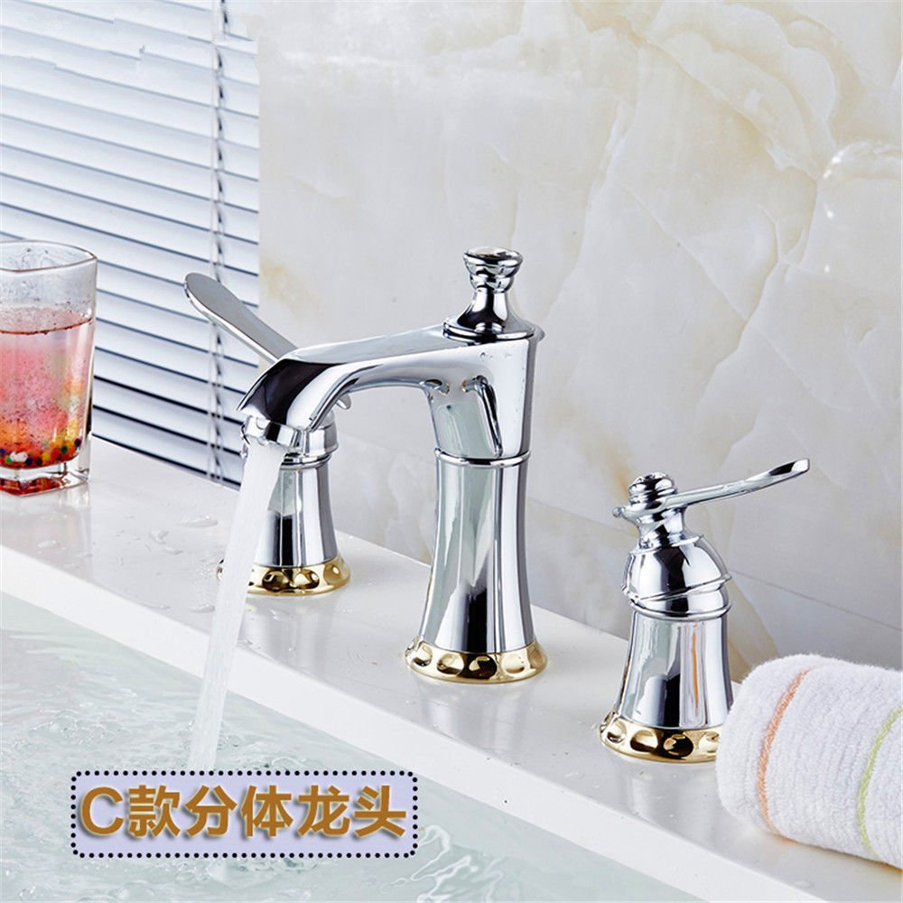 Modern simple copper hot and cold kitchen sink taps kitchen faucet Copper 3 hole faucet hot and cold basin washbasin double handle split faucet three-piece faucet Suitable for bathroom kitchen sinks