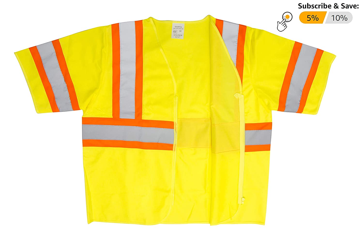 Neon Yellow Vests for Maximum Visibility. X-Large Yellow Lightweight Comfortable Vests Breathable Polyester Vests High Visibility Safety Vests with Orange Trim Silver Tape