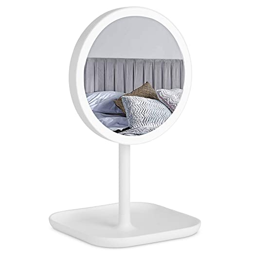 Beautify Small Lighted Vanity Makeup Mirror with LED Lights, USB Charger, Removable 10x Magnifying Mirror and Dimmable Lights for Bathroom, Washroom and Bedroom Tabletop