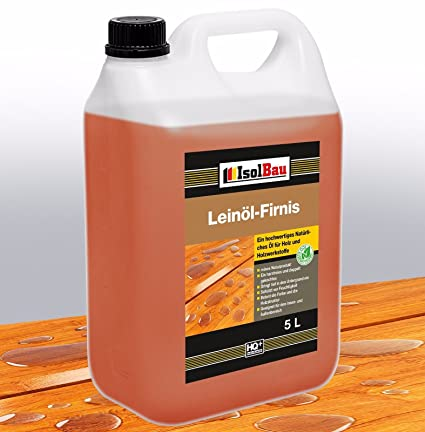 Aceite de lino 5 litros, protección natural para la madera, cuidado y tratamiento de