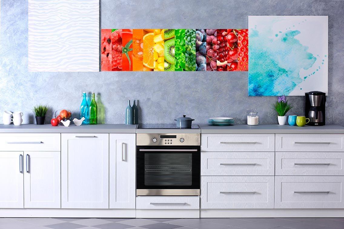 Vinilo decorativo pared Cocinas | Frutas y verduras | Sandia | Fresas |Tomates | Calabazas | Naranjas | Granos de maiz | Kiwis | Lechugas | Alcachofas | Uvas | Granas | Cerezas | Decoración Cocinas | Vinilos Cocinas |Varias Medidas 115x80cm | Adhesivo Resi
