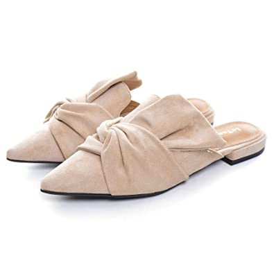 a7194f6b5 VFDB Women's Bowtie Mule Slippers Summer Pointy Toe Loafers Slip On Flat  Shoes Apricot US 4.5