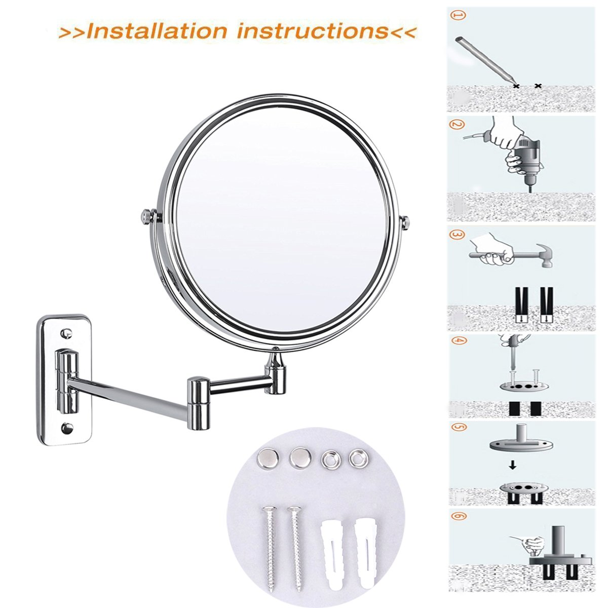 IBeaty Bathroom Mirror 8 inch Wall Mount Makeup Mirror Double-Sided Face Mirror, Swivel Vanity Mirror 1x and 7x Magnification Polished Chrome Finished by IBeaty (Image #8)