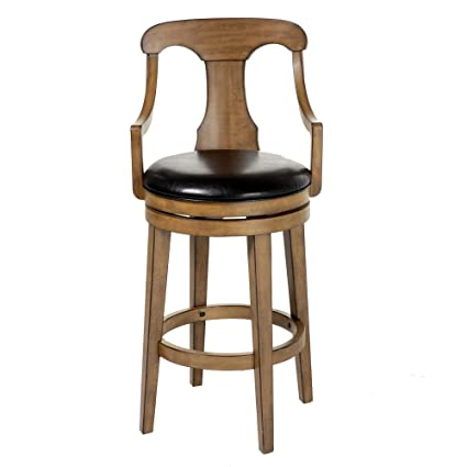 Brilliant Leggett Platt Albany Swivel Seat Bar Stool With Acorn Finished Wood Frame Sloped Arms And Black Faux Leather Upholstery 30 Inch Seat Height Ncnpc Chair Design For Home Ncnpcorg