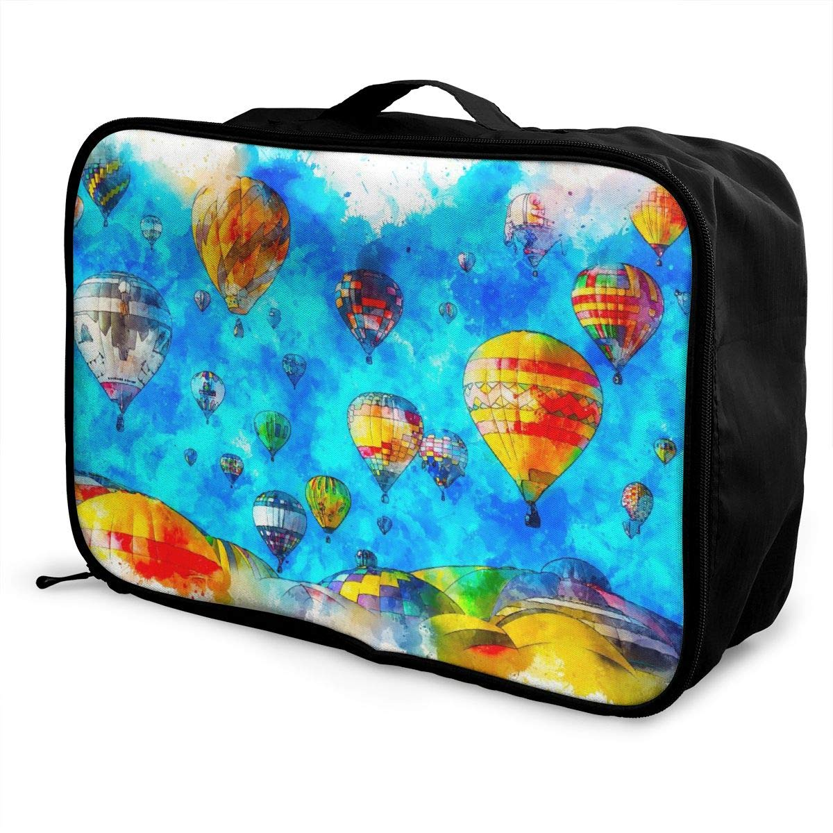 Hot Air Balloon Sky Art Watercolor Travel Lightweight Waterproof Foldable Storage Carry Luggage Large Capacity Portable Luggage Bag Duffel Bag
