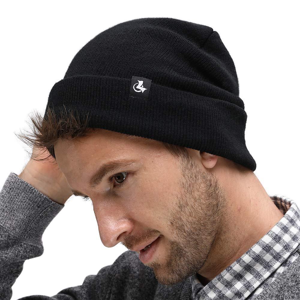 0f3ee2abf13 LETHMIK Fleece Lined Beanie Hat Mens Winter Solid Color Warm Knit Ski Skull  Cap