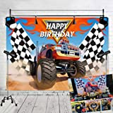TJ Monster Truck Theme Photography Backdrops Baby Shower Boy Happy Birthday Party Decor Banner Grave Digger Speed Photo Background Studio Booth Props 7x5FT Vinyl