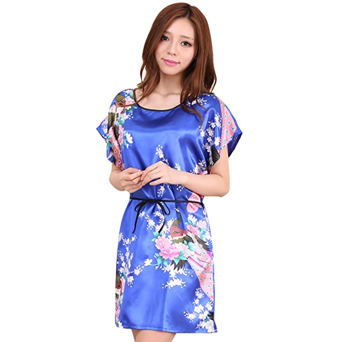 AICONL Womens Silk Stain Peacock Print Sleepwear Dress Nightgown Short  Ladies Imitation Silk Pajamas Blue ff2991c58