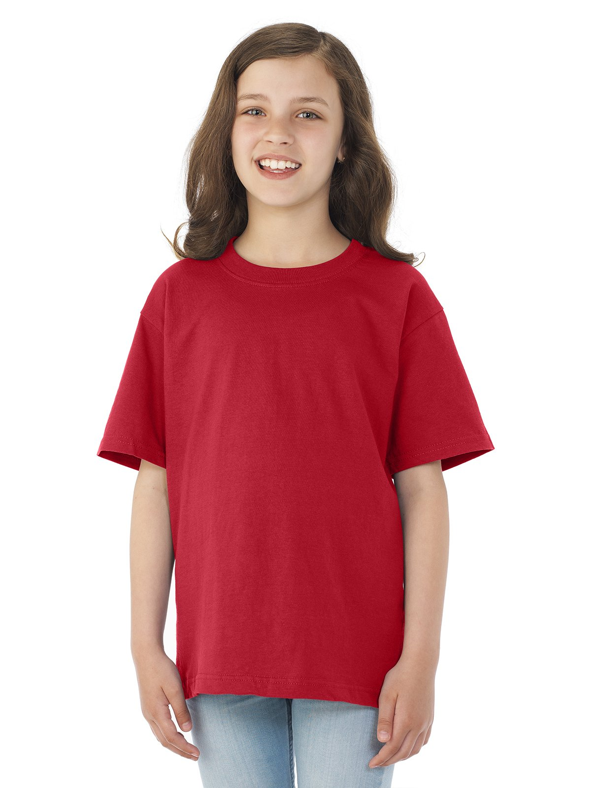 Jerzees Youth HiDENSI-T Short Sleeve Crew T-Shirt, JZ363BR, XS, True Red