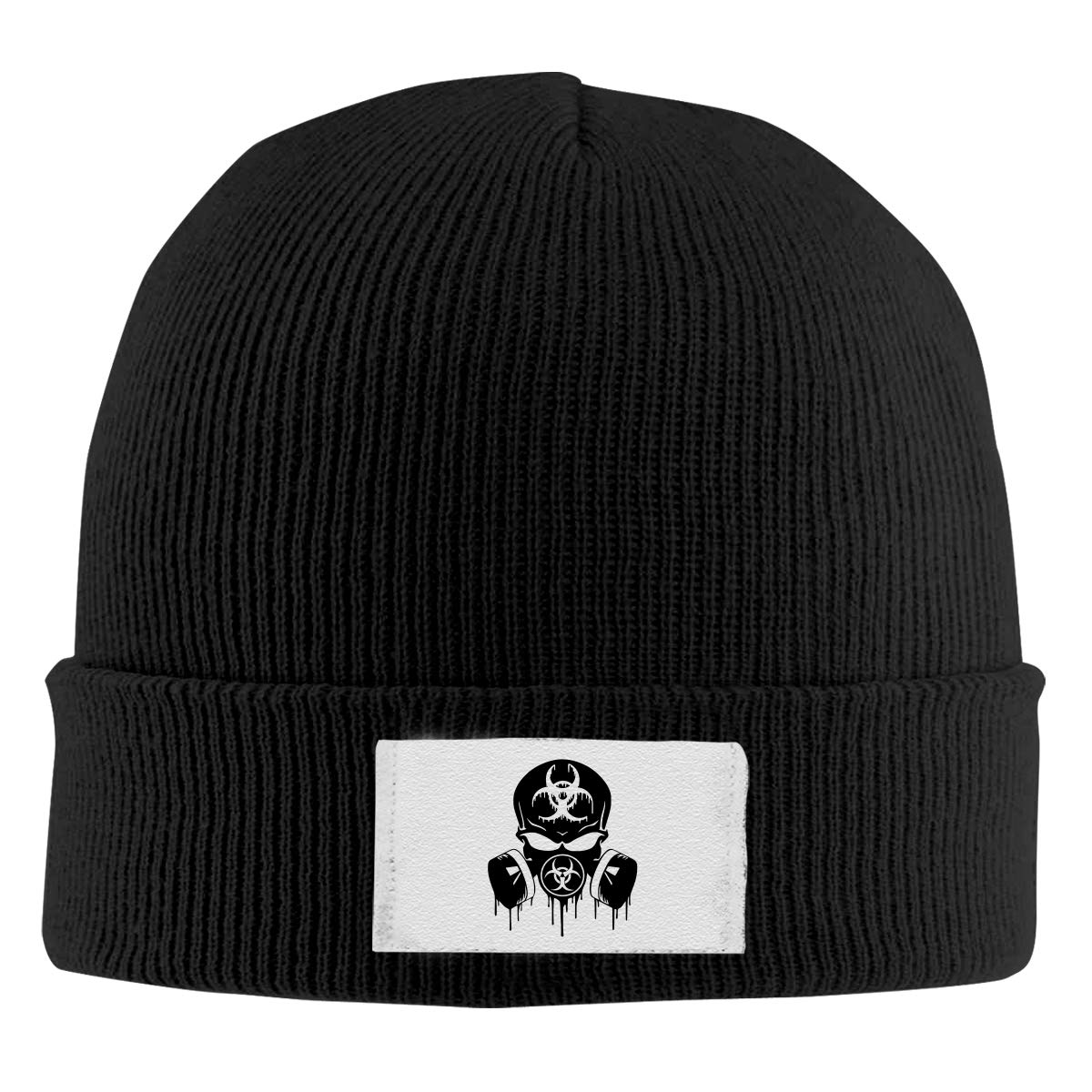 Unisex Stylish Slouch Beanie Hats Black Blk Skull Dripping Biohazard Respirator Top Level Beanie Men Women