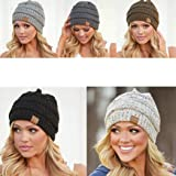 Homene Women Winter Fashion Warm Stretch Knitted Cap Beanie Hats Headband Skullies & Beanies
