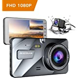 """JEEMAK 4"""" IPS Dual Lens Car Dash Cam FHD 1080P Dashboard Camera 170 degree Wide Angle In Car Vehicle Driving DVR Recorder with G-Sensor Parking Monitor WDR Loop Recording Night Vision"""