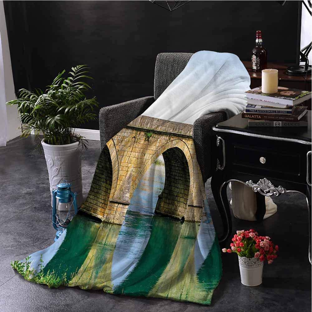 Landscape Children's Blanket Ottoman Bridge Visegrad Lightweight Soft Warm and Comfortable W80 x L60 Inch