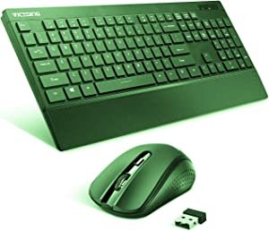 VicTsing [Fatigue Reliever] Wireless Keyboard and Mouse Combo, 2.4G Full Size Keyboard with Palm Rest, DPI Adjustable Cordless Mouse, USB Unifying Receiver, for PC Laptop Windows Mac iMac,Green