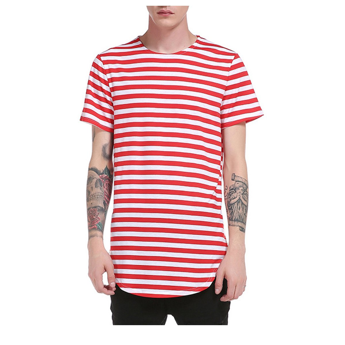 fa576148 Mirecoo Mens Short Sleeve Red & White Striped Striped T-Shirt Light Grey  Black Stripe Top & Tees