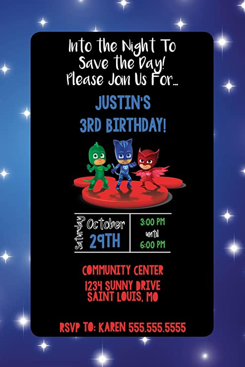 Custom Birthday Party Invitation - PJ Mask - Night Sky