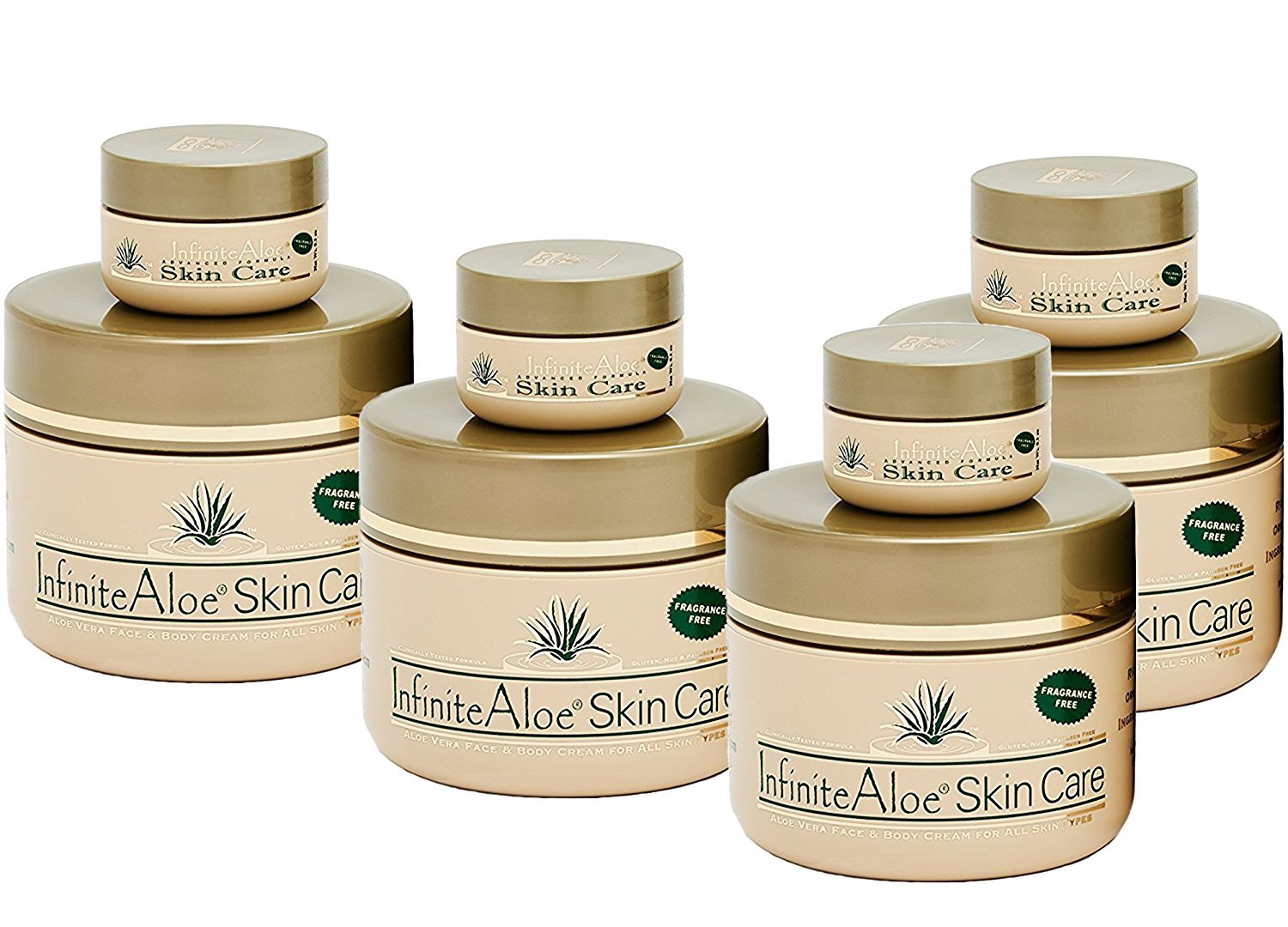 Infinite Aloe Skin Care Cream, Fragrance Free, 8oz. - 4 Jars - ** (Plus 4 Bonus 0.5 oz InfiniteAloe Travel Jars) **