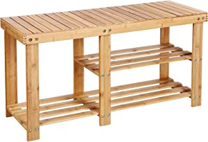 SONGMICS 100% Bamboo Shoe Rack Bench,3-tier Entryway Storage Organizer with Seat, Shoe Shelf for Boots,Ideal for Hallway Bathroom Living Room Corridor Kitchen and Garden Natural ULBS06N