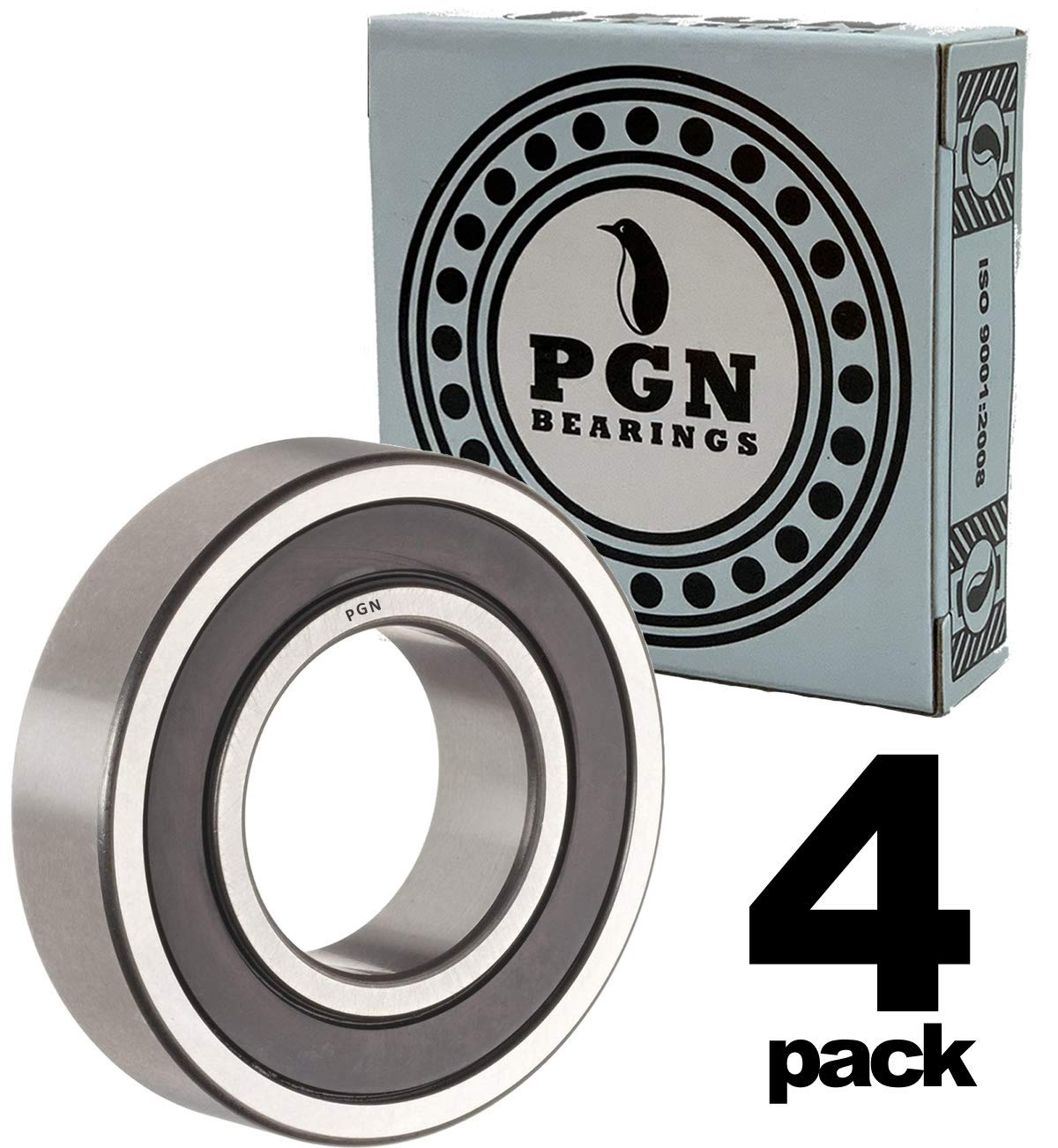 PGN 6203-2RS Sealed Ball Bearing - 17x40x12 - Lubricated - Chrome Steel (4 PCS)