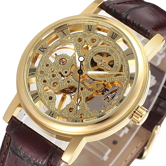 Winner Skeleton Mechanical Mens Watch Luxury Famous Brand Military Gold Wrist Watch Men Winner Skeleton Watch