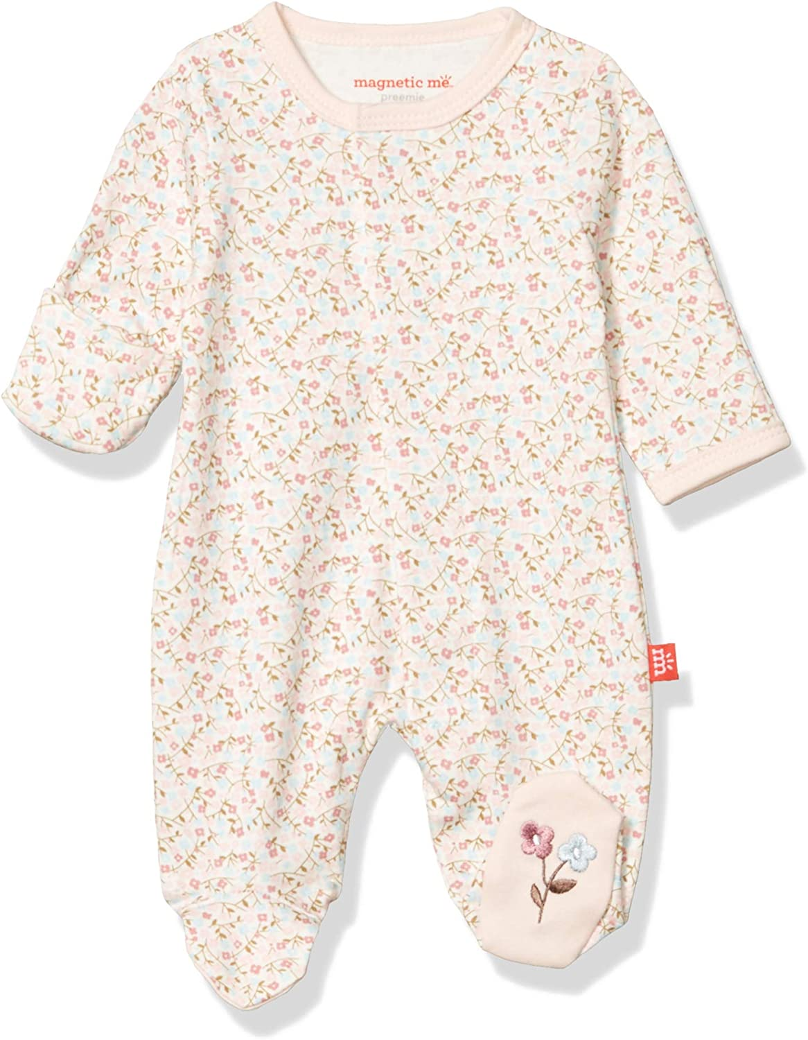 Magnificent Baby Girls Magnetic Fastener Cotton Footie Pajamas: Clothing