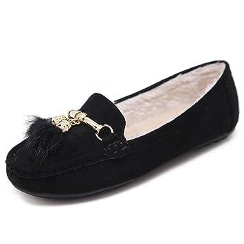 Morbuy Mujer Clásico Gamuza Mocasines más Terciopelo, Piel Calientes Otoño Invierno Zapatos Planos Loafers Zapatos del Barco Casual Zapatos de Conducción(39 ...