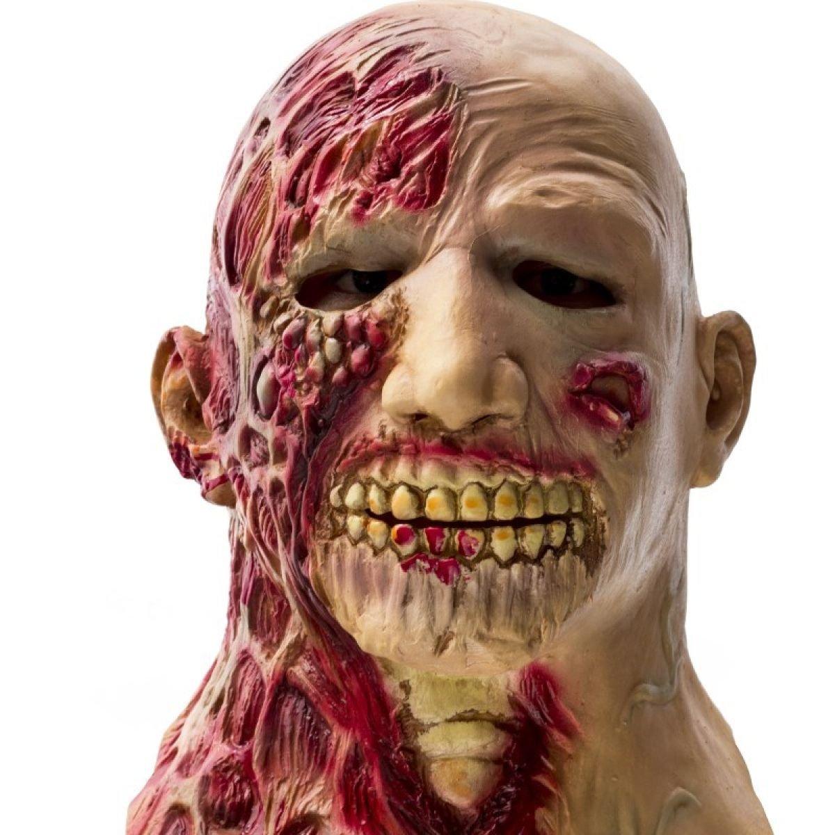 Nihiug Halloween-Kleid-Partei-Stützen Zombie-Teufel-Schablone Männlicher Erwachsener Horror-furchtsamer Latex-Kappen-Schlepper Halloween-Party,B