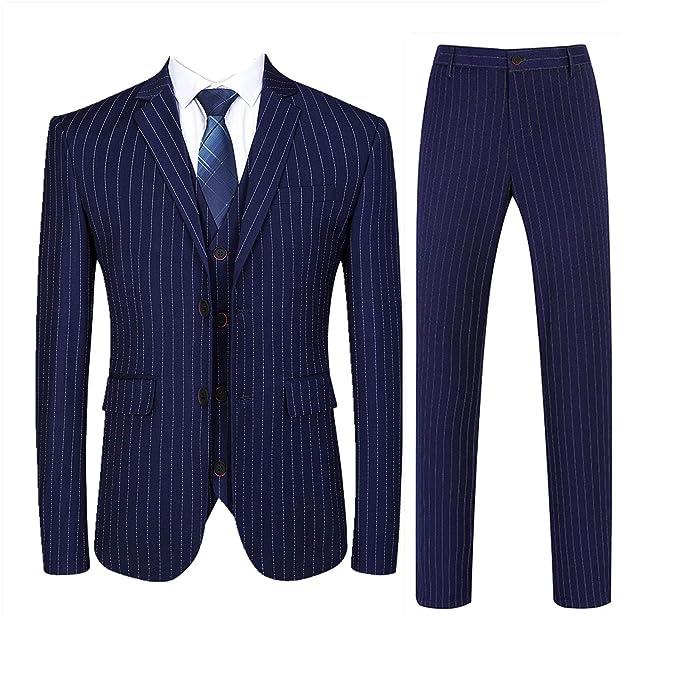 Amazon.com: Traje para hombre, ajuste delgado, traje de 3 ...