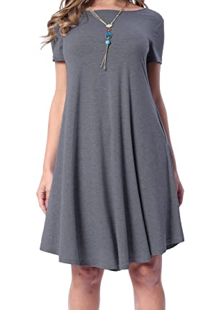 9178a4f59317 Image Unavailable. Image not available for. Color: levaca Womens Summer  Plain Short Sleeve Loose Casual Tshirt Dress Dark Gray M