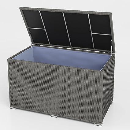 Super XXL Kissenbox wasserdicht Polyrattan 950L Anthrazit Auflagenbox VE82