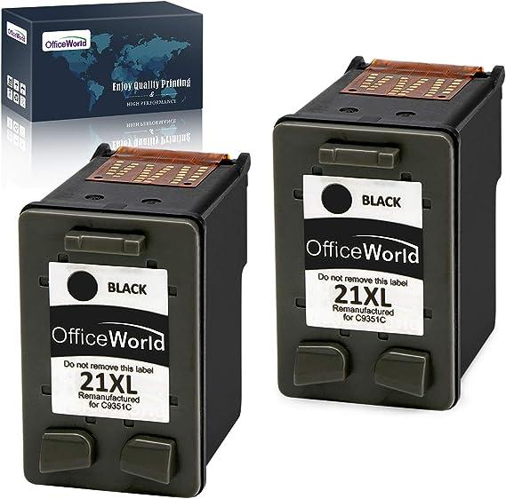 Imagen deOfficeWorld Remanufacturado HP 21 21XL Negro Cartuchos de Tinta Compatible con HP Deskjet F4180 F2180 F2280 F2290 F380 F335 F390, HP Officejet 4315 4355 Impresora