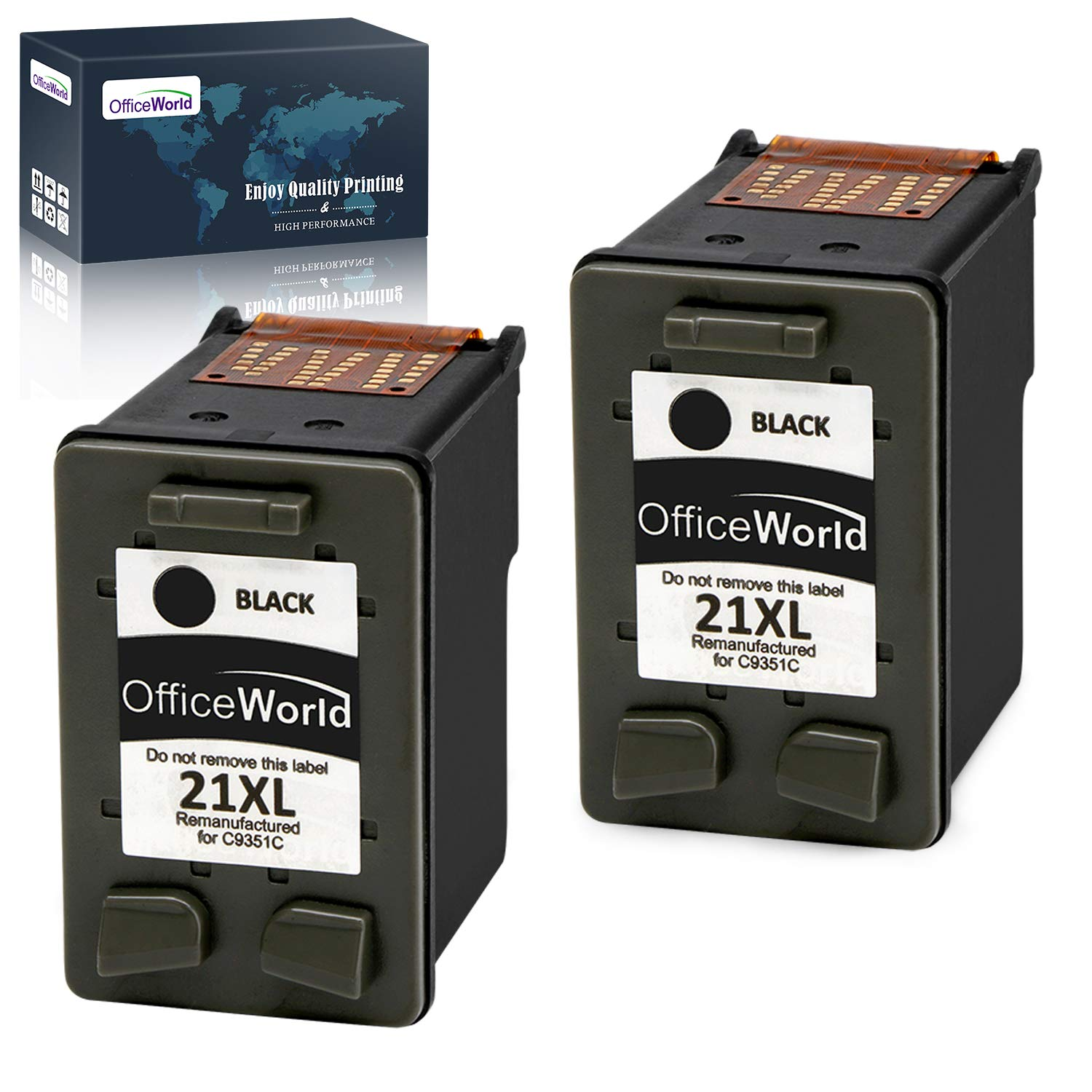 OfficeWorld Remanufacturado HP 21 21XL Negro Cartuchos de Tinta ...