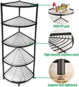 Free Standing Pot Rack, Cookware Stand Organizer 5 Tier Assembly Metal Corner Shelf, Black (Unassembled)