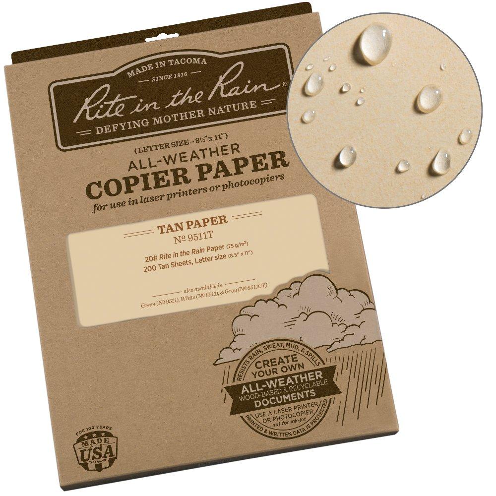Rite in the Rain Weatherproof Copier Paper, 8 1/2' x 11', 20# Tan, 200 Sheet Pack (No. 9511T)