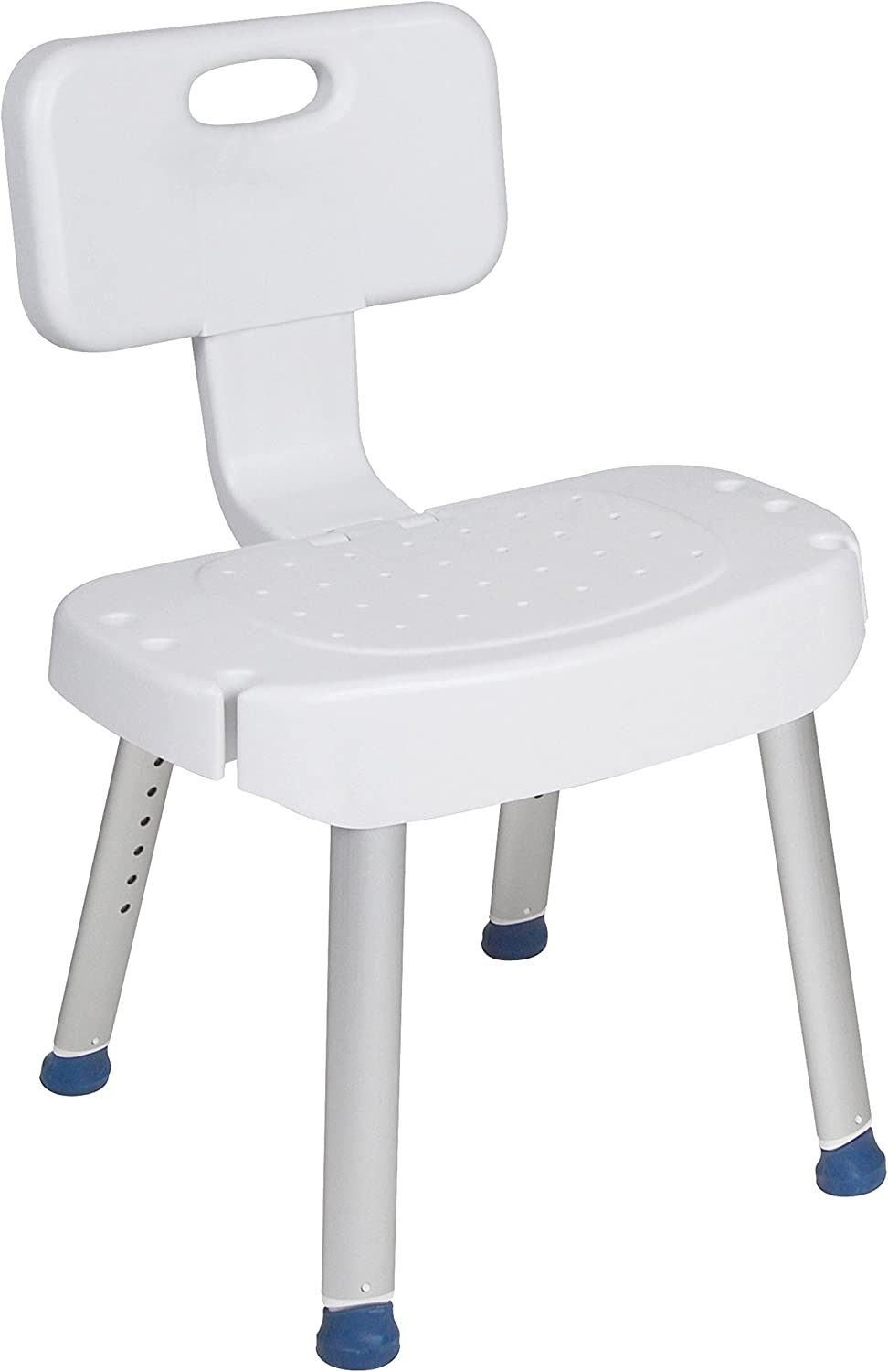 Drive Medical Bathroom Safety Shower Chair with Folding Back, White