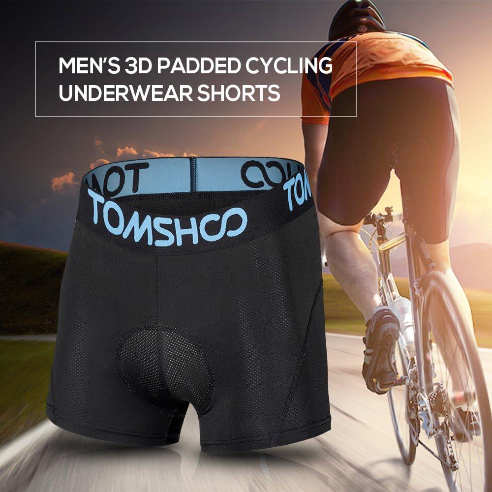 Biancheria Intima Mutande Traspirante,Rapido Asciutto Gel 3D Leggero Slip del Pugile per Ciclismo della Bici TOMSHOO Pantaloncini Ciclismo,Ciclismo Imbottito Mutande