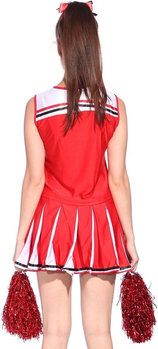 Debardeur Jupon Pom pom girl cheer leaders S//M//L costume deguisement rouge neuf