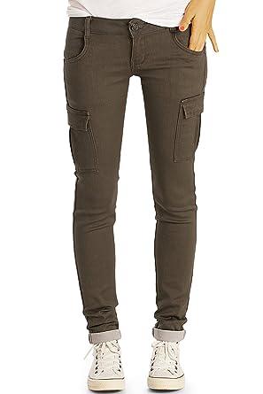 Exklusive Angebote spottbillig Modern und elegant in der Mode bestyledberlin Damen Cargohose, Slim Fit Denim Hose, Schmale Military Style  Jeans j61i