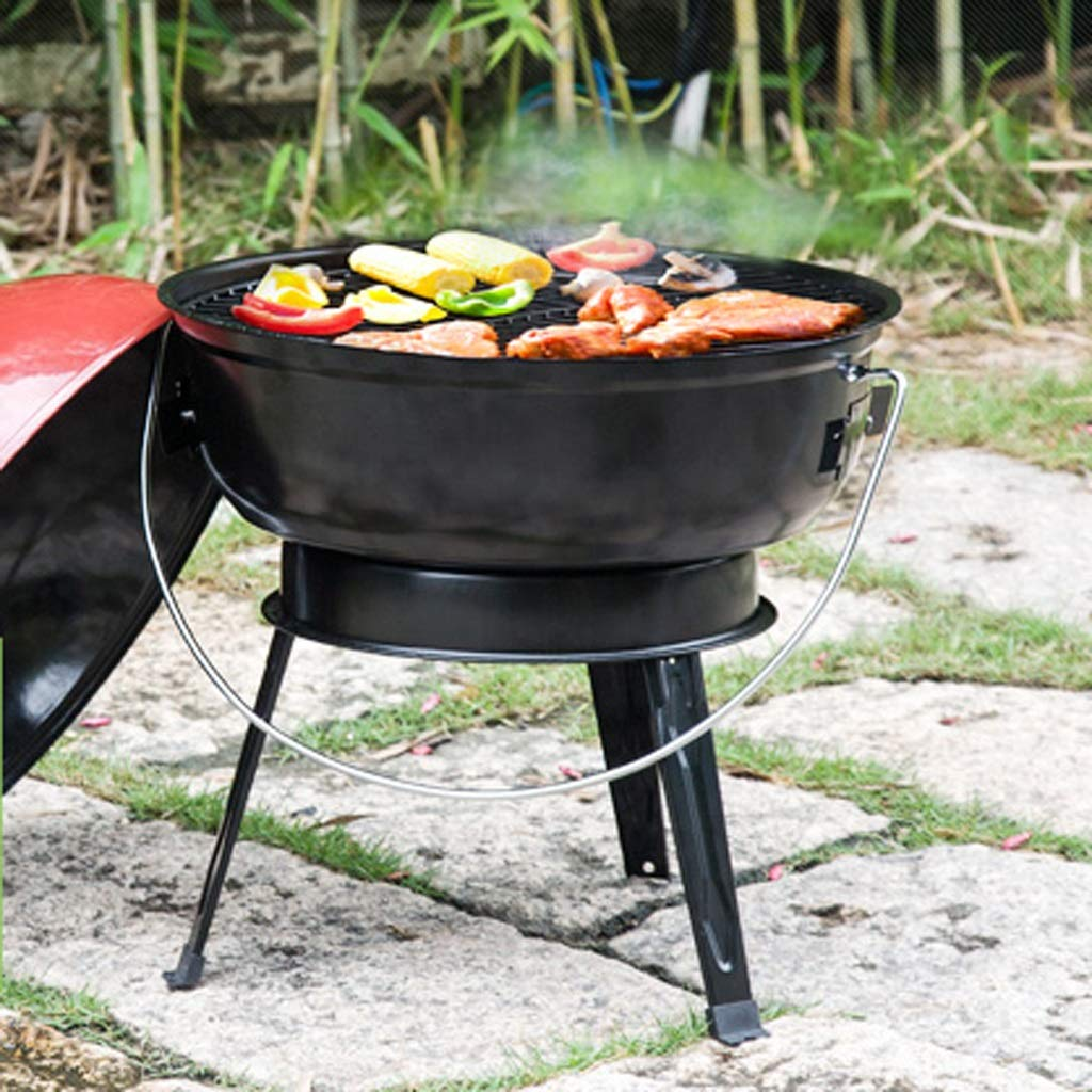 MEI XU Barbecue Grill BBQ Grill - American Car Portable Apple Stove Household Charcoal Grill Enamel Grilled Oven (Color : Black) by MEI XU (Image #6)