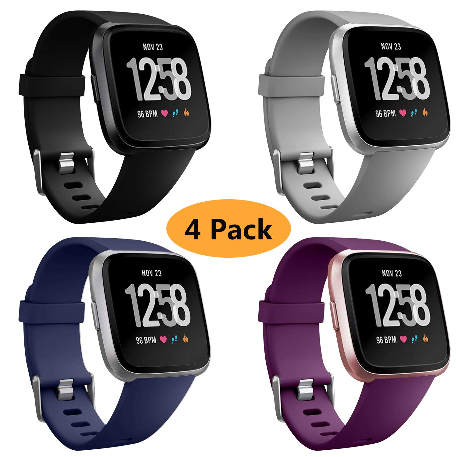 Neitooh 4 Packs Bands Compatible with Fitbit Versa/Versa 2/Fitbit Versa Lite for Women and Men, Classic Soft Silicone Sport Strap Replacement ...