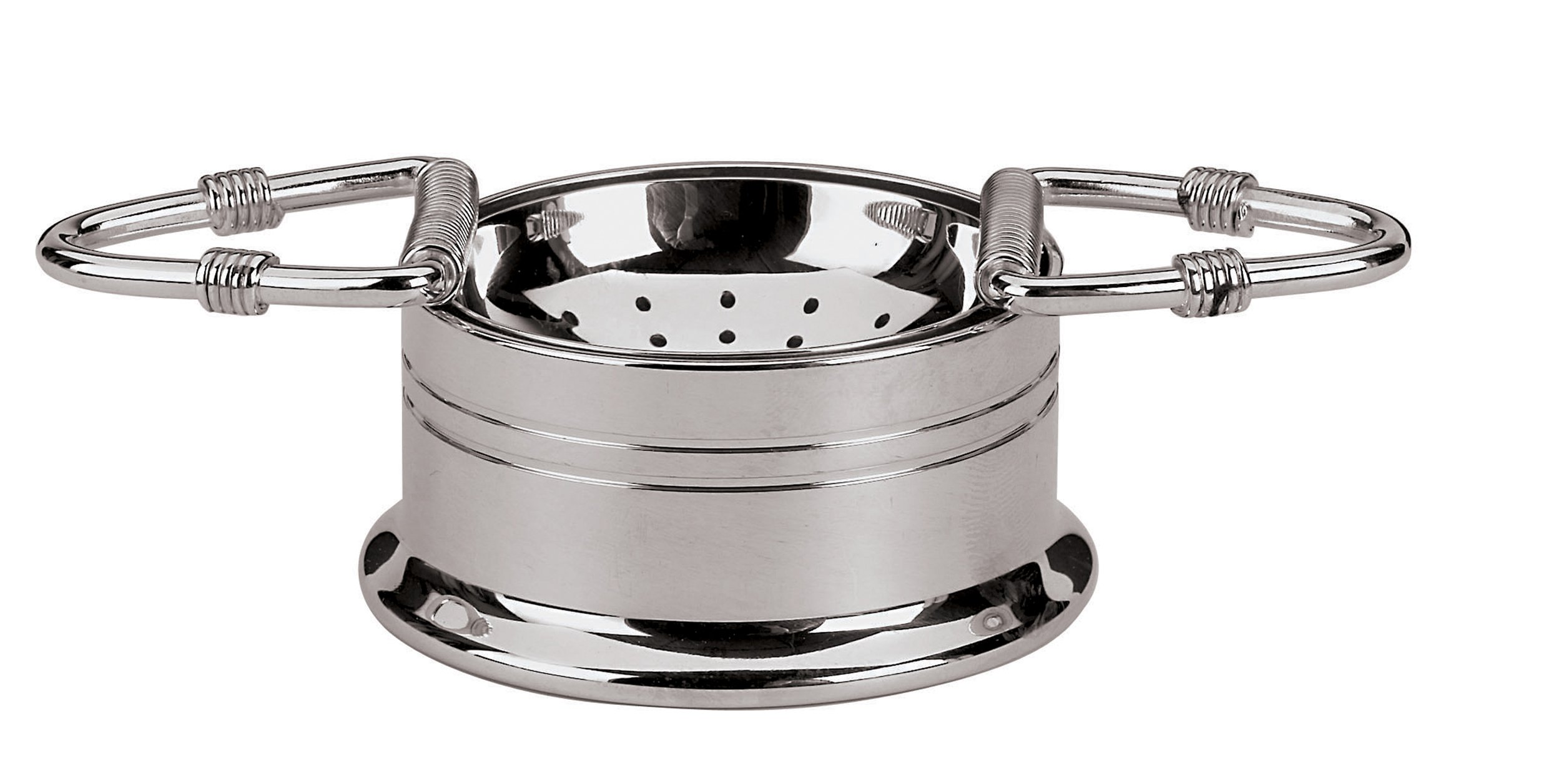 Paderno World Cuisine 2-Inch Stainless-Steel Tea Strainer with Handles and Holder