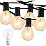 100Feet Outdoor Patio String Lights, Lightdot G40 Globe String Lights 2700K with 52 Edison Glass Bulbs(2 Spare), Waterproof B