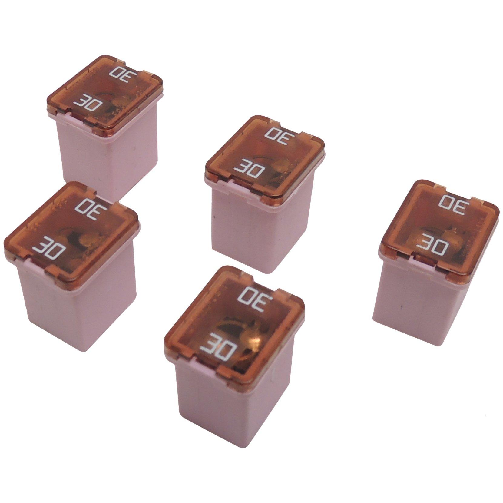 30 Amp 58V Low Profile J-Case Pink Cartridge Fuses (5 Pack) Littelfuse