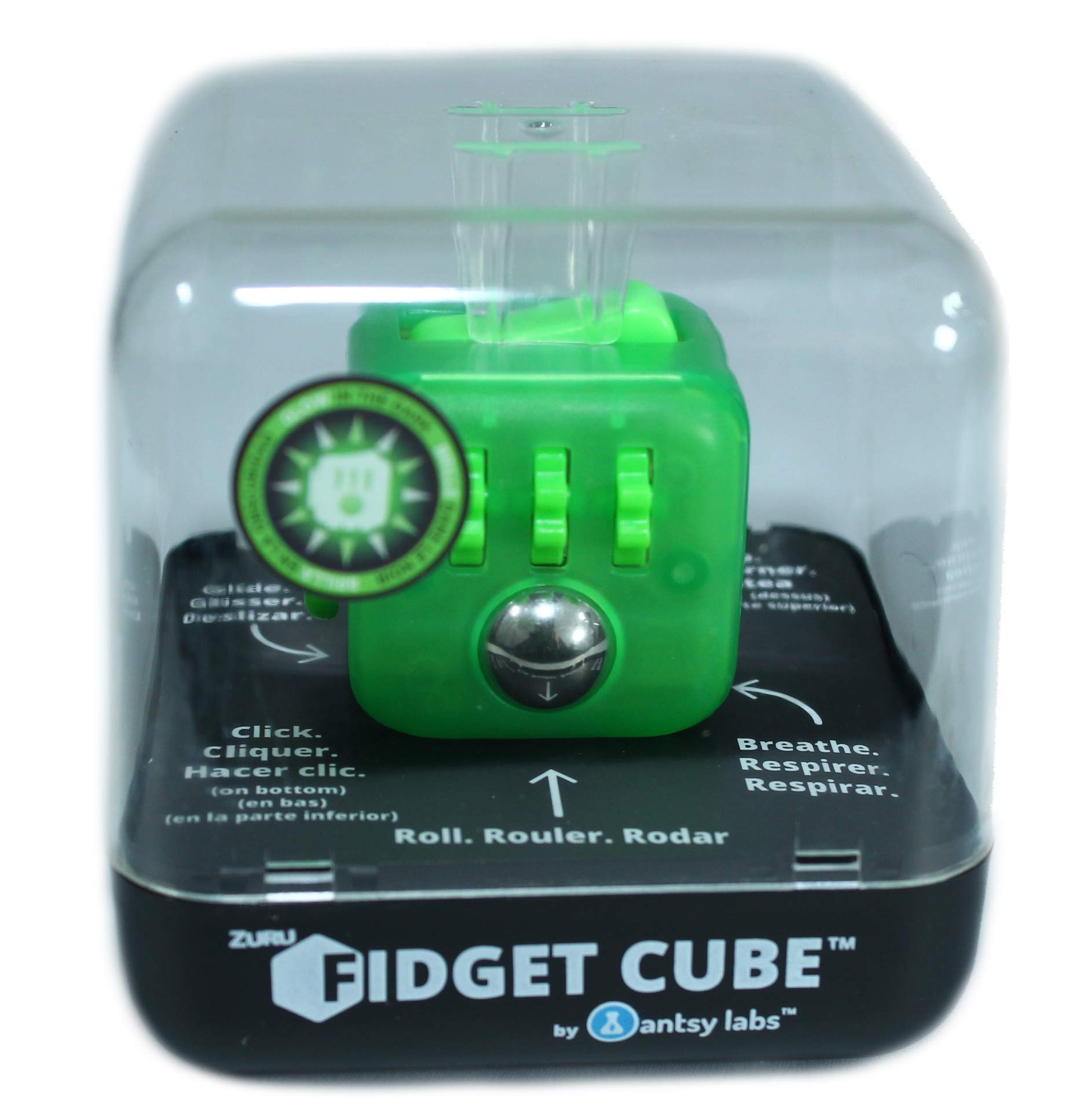 Zuru Fidget Cube by Antsy Labs - Custom Series (Transparent Neon Green) Glow in The Dark Fidget Cube by ZURU
