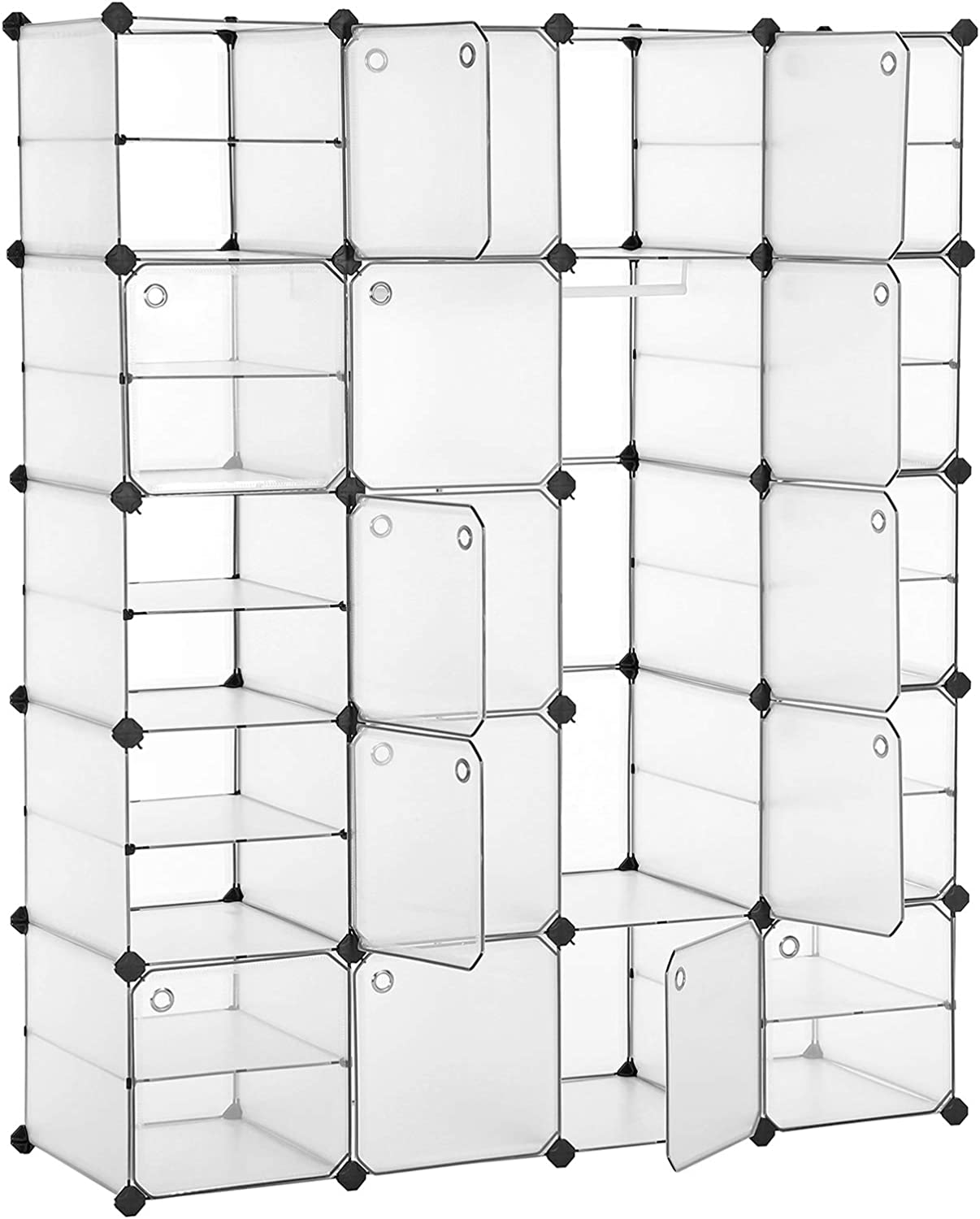 Versatile Modular Organizer with Hooked Doors Portable Storage for Bedroom White ULPC801W 2 Hanging Sections SONGMICS Portable Closet Wardrobe with 20 Slots 10 Customizable Shelves