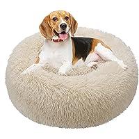 TAMOWA Cama Perro Suave Cama Gato Redonda, Camas de Gatos Perros de Donut con Parte Inferior Antideslizante, Cómodo…