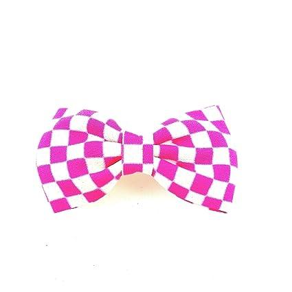 rougecaramel – Accesorios Cabello – Alicate pelo nudo en tejido Damero – Rosa/Blanco