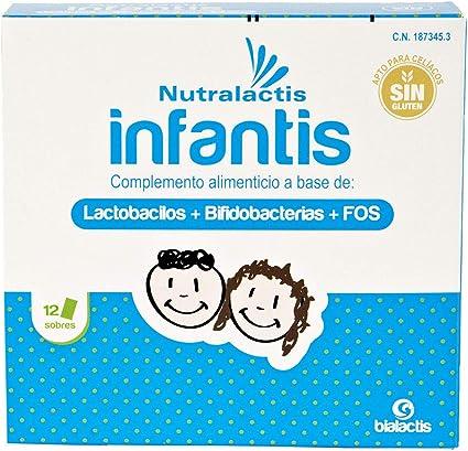 Probiótico Nutralactis Infantis - 12 sobres con 3.000 millones de UFC para niños - Refuerza el sistema inmunitario, reduce las alteraciones ...